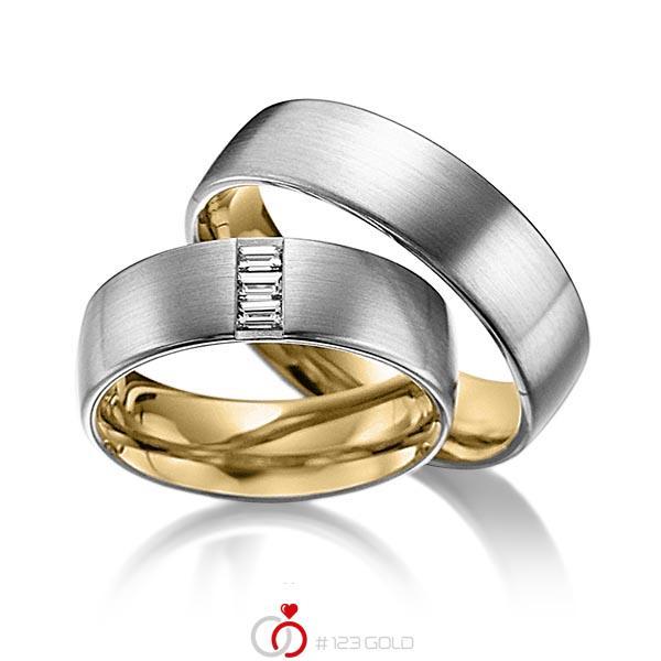Paar bicolor Trauringe/Eheringe in außen Graugold 585 , innen Gelbgold 585 mit zus. 0,18 ct. Baguette-Diamant tw, vs von acredo - A-6017-4