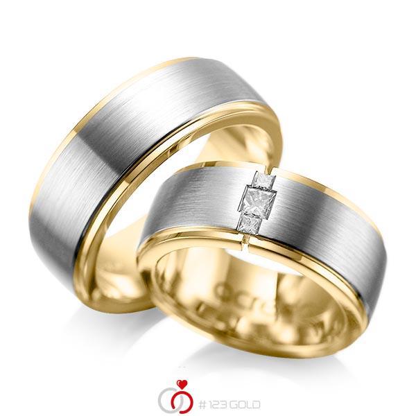 Paar bicolor Trauringe/Eheringe in aussen Graugold 585 , innen Gelbgold 585 mit zus. 0,21 ct. Prinzess-Diamant tw, si von acredo - A-1087-5