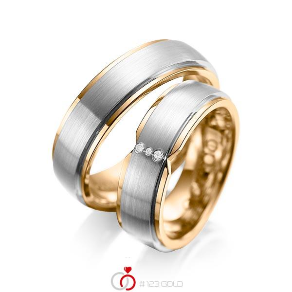 Paar bicolor Trauringe/Eheringe in außen Graugold 585 , innen Roségold 585 mit zus. 0,025 ct. Brillant tw, si von acredo - A-1063-6