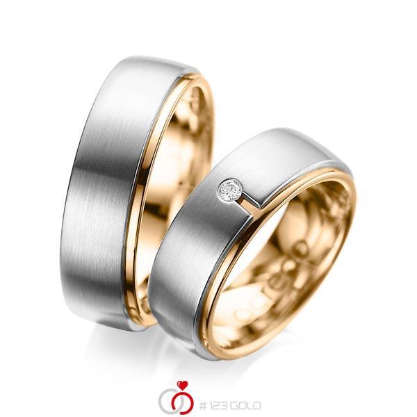Paar bicolor Trauringe/Eheringe in aussen Graugold 585 , innen Roségold 585 mit zus. 0,03 ct. Brillant tw, si von acredo - A-1090-5