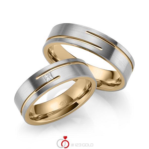 Paar bicolor Trauringe/Eheringe in außen Graugold 585 , innen Roségold 585 mit zus. 0,05 ct. Prinzess-Diamant tw, vs - UQ-1043-2