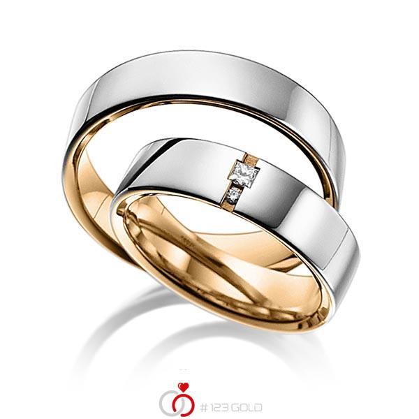 Paar bicolor Trauringe/Eheringe in aussen Graugold 585 , innen Roségold 585 mit zus. 0,06 ct. Prinzess-Diamant & Brillant tw, si von acredo - A-6015-6