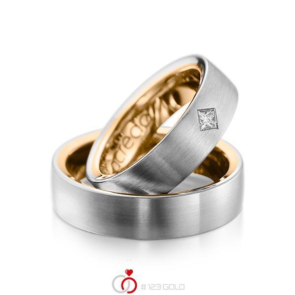 Paar bicolor Trauringe/Eheringe in aussen Graugold 585 , innen Roségold 585 mit zus. 0,12 ct. Prinzess-Diamant tw, si von acredo - A-1073-6