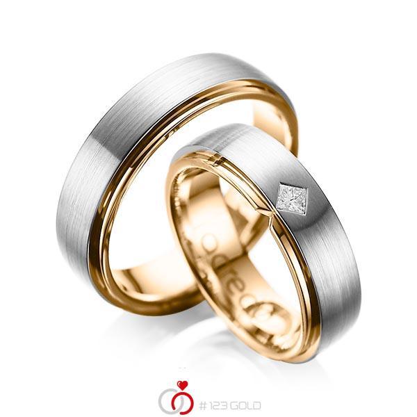 Paar bicolor Trauringe/Eheringe in außen Graugold 585 , innen Roségold 585 mit zus. 0,1 ct. Prinzess-Diamant tw, si von acredo - A-1061-5