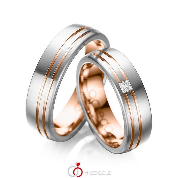 Paar bicolor Trauringe/Eheringe in außen Graugold 585 , innen Rotgold 585 mit zus. 0,05 ct. Prinzess-Diamant tw, si von acredo - A-1040-1