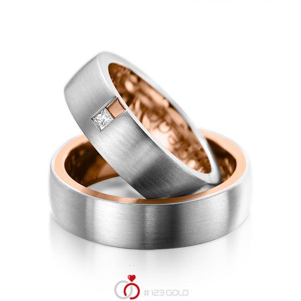 Paar bicolor Trauringe/Eheringe in aussen Graugold 585 , innen Rotgold 585 mit zus. 0,06 ct. Prinzess-Diamant tw, si von acredo - A-1091-1