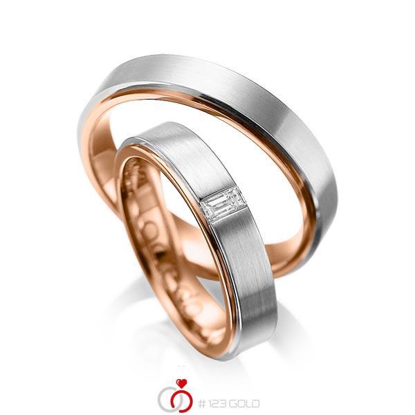 Paar bicolor Trauringe/Eheringe in außen Graugold 585 , innen Rotgold 585 mit zus. 0,12 ct. Baguette-Diamant tw, vs von acredo - A-1054-1