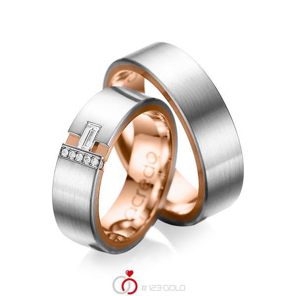 Paar bicolor Trauringe/Eheringe in aussen Graugold 585 , innen Rotgold 585 mit zus. 0,155 ct. Baguette-Diamant & Brillant tw, vs tw, si von acredo - A-1066-1