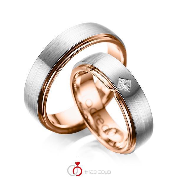 Paar bicolor Trauringe/Eheringe in außen Graugold 585 , innen Rotgold 585 mit zus. 0,1 ct. Prinzess-Diamant tw, si von acredo - A-1061-6