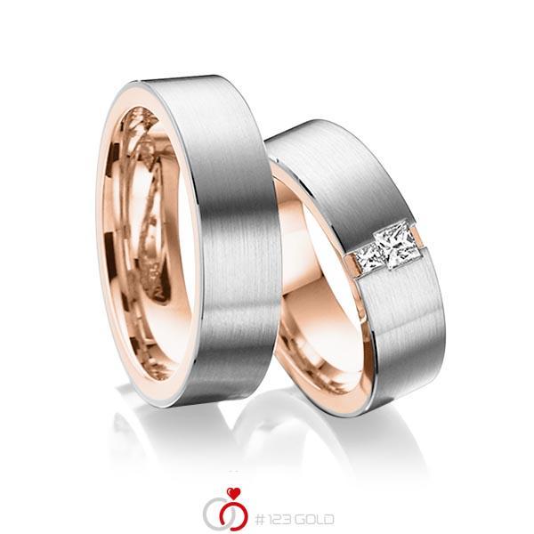 Paar bicolor Trauringe/Eheringe in aussen Graugold 585 , innen Rotgold 585 mit zus. 0,2 ct. Prinzess-Diamant tw, si von acredo - A-6014-1