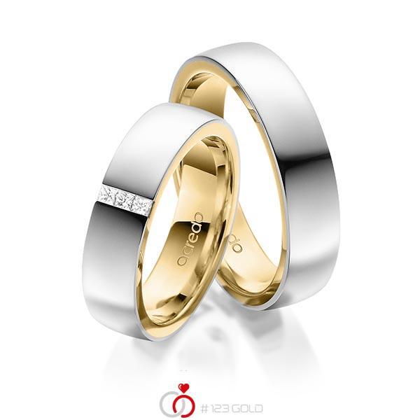 Paar bicolor Trauringe/Eheringe in außen Platin 950 , innen Gelbgold 750 mit zus. 0,09 ct. Prinzess-Diamant tw, si von acredo - A-1673-10