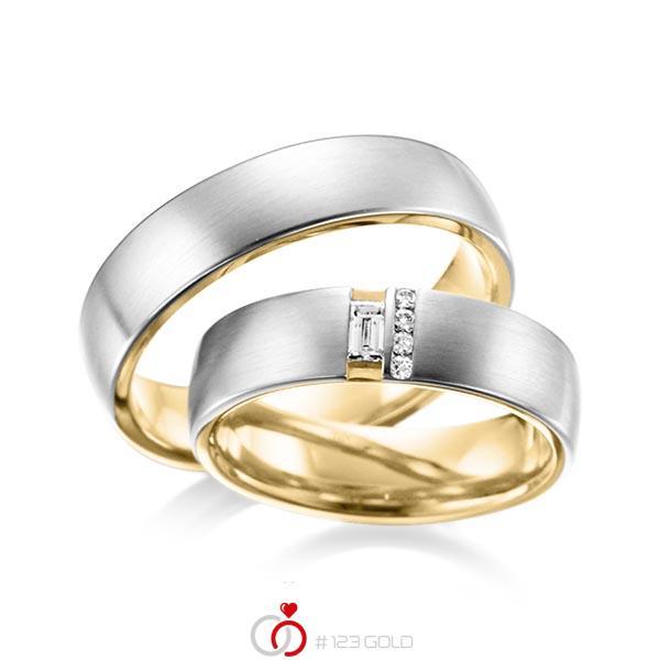 Paar bicolor Trauringe/Eheringe in außen Platin 950 , innen Gelbgold 750 mit zus. 0,132 ct. Baguette-Diamant & Brillant tw, vs von acredo - A-6018-3
