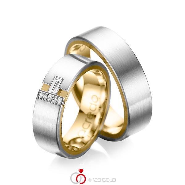 Paar bicolor Trauringe/Eheringe in außen Platin 950 , innen Gelbgold 750 mit zus. 0,155 ct. Baguette-Diamant & Brillant tw, vs tw, si von acredo - A-1066-3