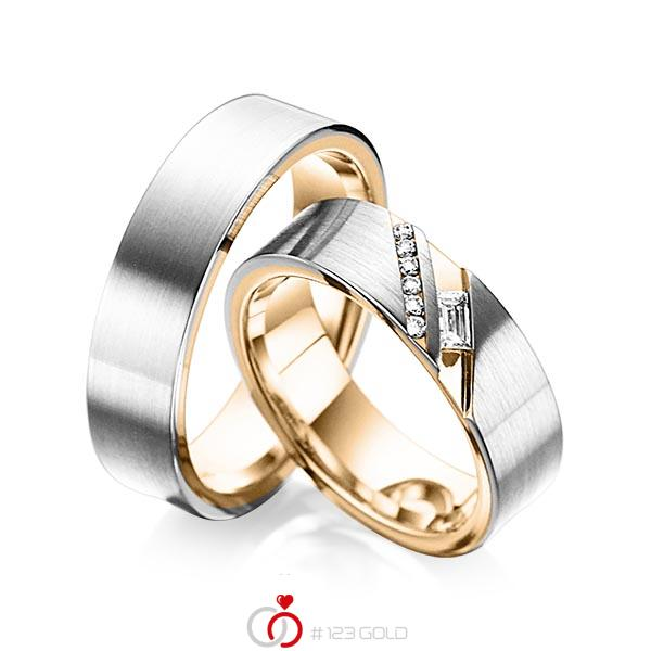 Paar bicolor Trauringe/Eheringe in aussen Platin 950 , innen Roségold 750 mit zus. 0,16 ct. Baguette-Diamant & Brillant tw, vs tw, si von acredo - A-6019-5