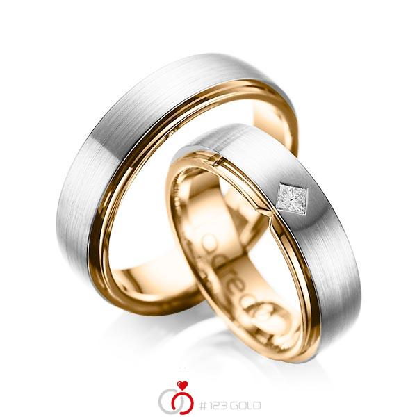 Paar bicolor Trauringe/Eheringe in aussen Platin 950 , innen Roségold 750 mit zus. 0,1 ct. Prinzess-Diamant tw, si von acredo - A-1061-3
