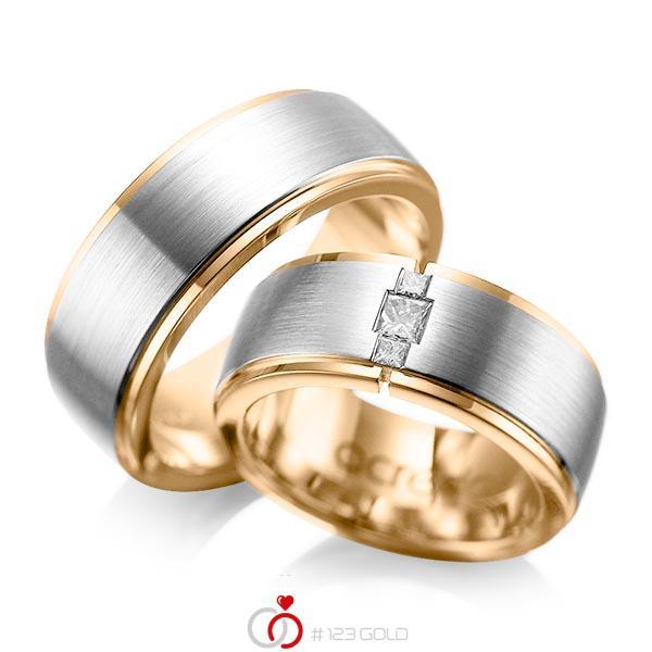 Paar bicolor Trauringe/Eheringe in aussen Platin 950 , innen Roségold 750 mit zus. 0,21 ct. Prinzess-Diamant tw, si von acredo - A-1087-4