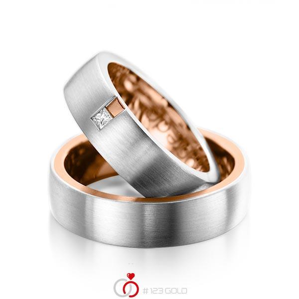 Paar bicolor Trauringe/Eheringe in aussen Platin 950 , innen Rotgold 750 mit zus. 0,06 ct. Prinzess-Diamant tw, si von acredo - A-1091-2
