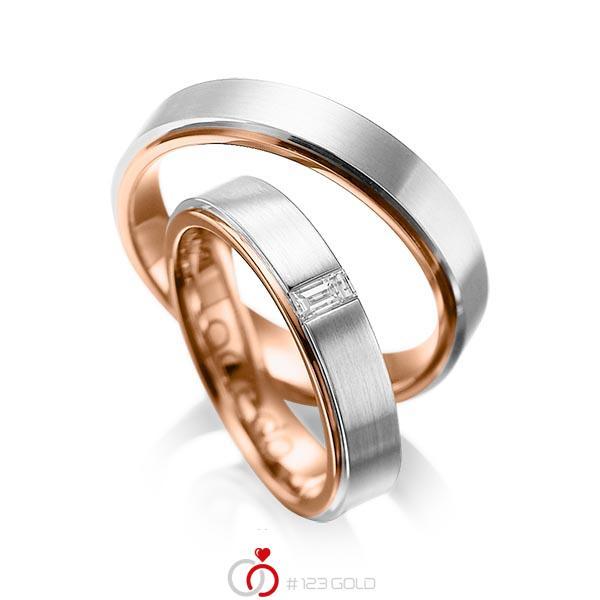 Paar bicolor Trauringe/Eheringe in außen Platin 950 , innen Rotgold 750 mit zus. 0,12 ct. Baguette-Diamant tw, vs von acredo - A-1054-4