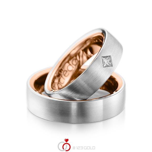 Paar bicolor Trauringe/Eheringe in außen Platin 950 , innen Rotgold 750 mit zus. 0,12 ct. Prinzess-Diamant tw, si von acredo - A-1073-4