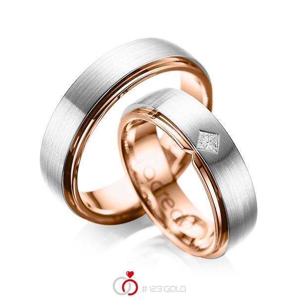 Paar bicolor Trauringe/Eheringe in außen Platin 950 , innen Rotgold 750 mit zus. 0,1 ct. Prinzess-Diamant tw, si von acredo - A-1061-4