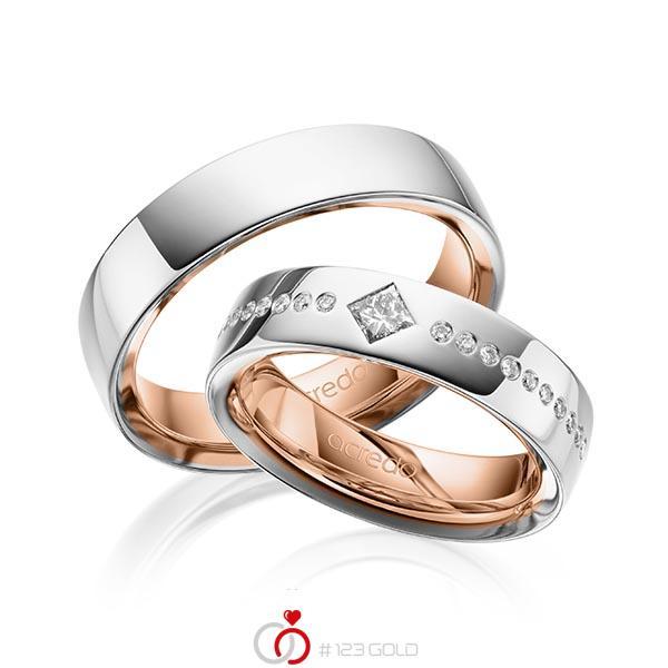 Paar bicolor Trauringe/Eheringe in außen Platin 950 , innen Rotgold 750 mit zus. 0,326 ct. Brillant & Prinzess-Diamant tw, si von acredo - A-1626-11
