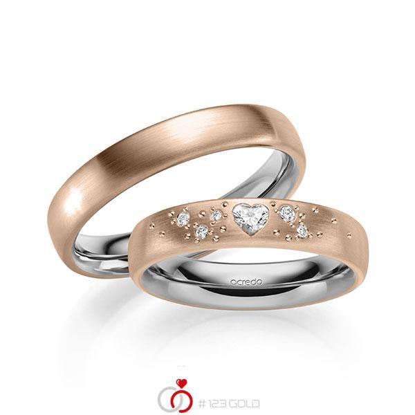 Paar bicolor Trauringe/Eheringe in außen Rotgold 585 , innen Graugold 585 mit zus. 0,146 ct. Herz-Diamant & Brillant tw, vs tw, si von acredo - A-2131-3