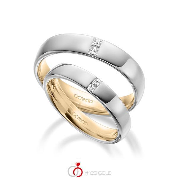 Paar bicolor Trauringe/Eheringe in außen Weißgold 585 , innen Roségold 585 mit zus. 0,18 ct. Prinzess-Diamant tw, si von acredo - A-1944-11