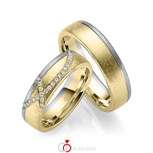 Paar bicolor Trauringe/Eheringe in Gelbgold 585 Graugold 585 mit zus. 0,168 ct. Brillant tw, si - UQ-1050-1