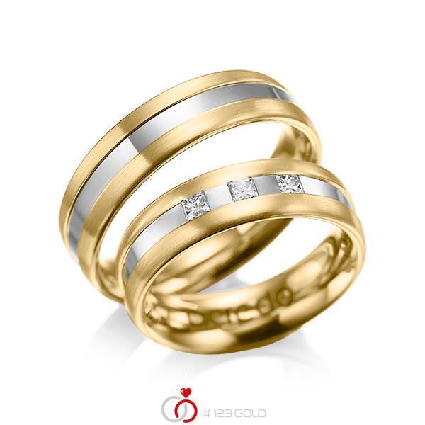 Paar bicolor Trauringe/Eheringe in Gelbgold 585 Graugold 585 mit zus. 0,18 ct. Prinzess-Diamant tw, si von acredo - A-1021-1