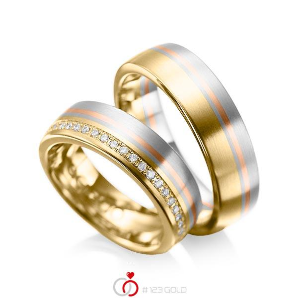 Paar bicolor Trauringe/Eheringe in Gelbgold 585 Graugold 585 Rotgold 585 mit zus. 0,216 ct. Brillant tw, si von acredo - A-1030-8
