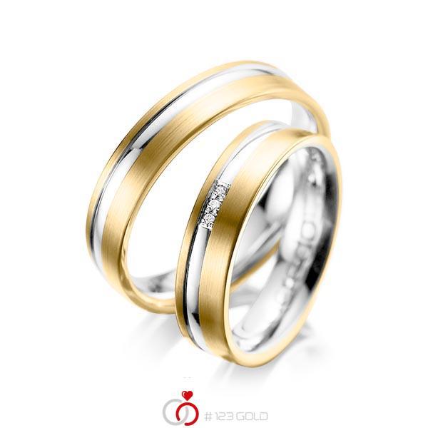 Paar bicolor Trauringe/Eheringe in Gelbgold 585 Weissgold 585 mit zus. 0,015 ct. Brillant tw, si von acredo - A-1039-1