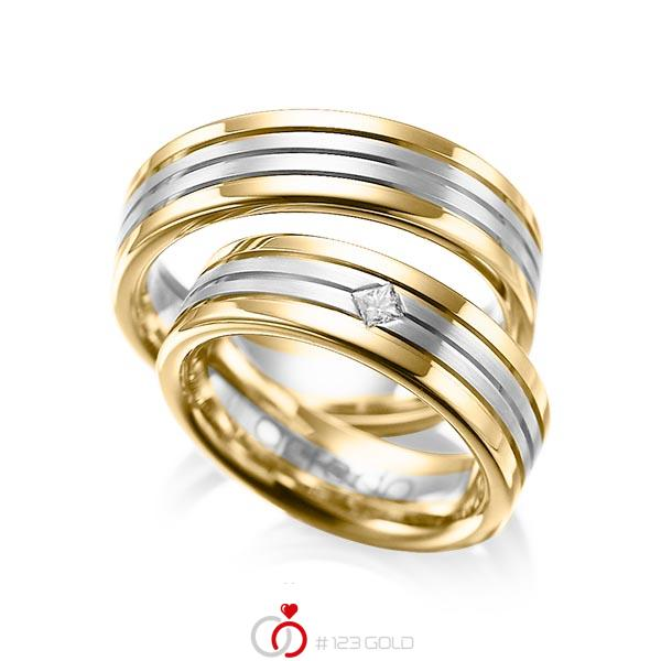 Paar bicolor Trauringe/Eheringe in Gelbgold 585 Weissgold 585 mit zus. 0,08 ct. Prinzess-Diamant tw, si von acredo - A-1023-4