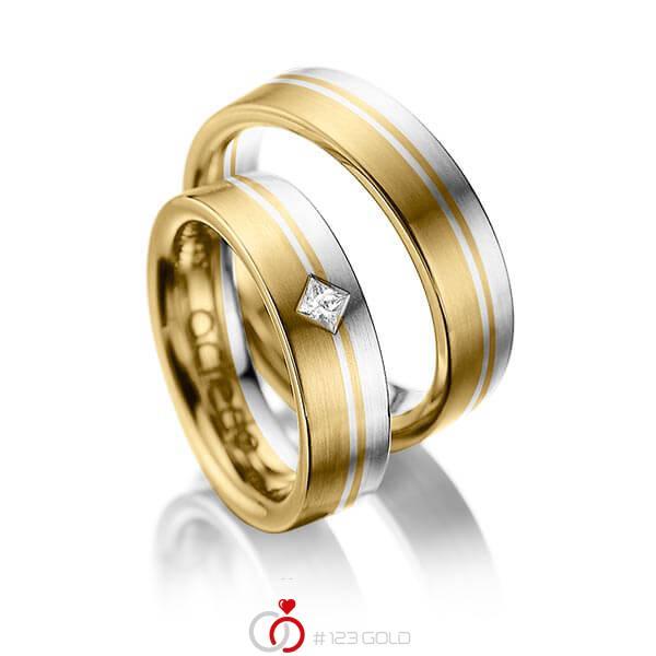Paar bicolor Trauringe/Eheringe in Gelbgold 585 Weißgold 585 mit zus. 0,1 ct. Prinzess-Diamant tw, si von acredo - A-1020-10