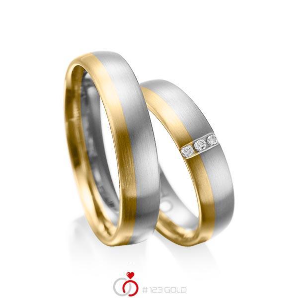 Paar bicolor Trauringe/Eheringe in Graugold 585 Gelbgold 585 mit zus. 0,045 ct. Brillant tw, si von acredo - A-1010-1