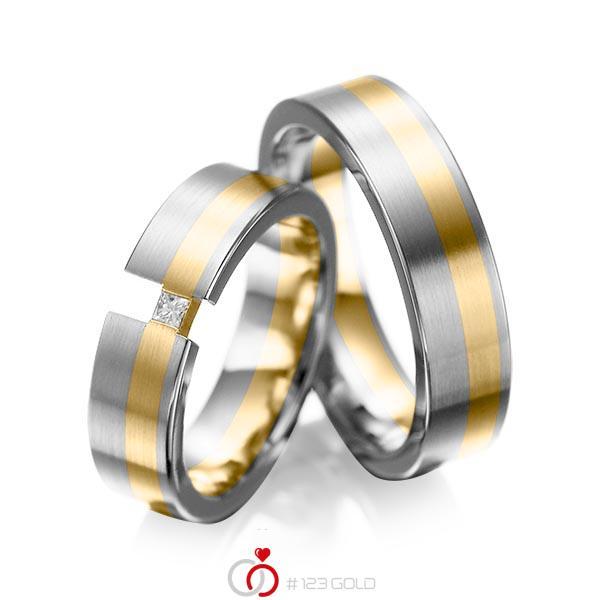 Paar bicolor Trauringe/Eheringe in Graugold 585 Gelbgold 585 mit zus. 0,05 ct. Prinzess-Diamant tw, si von acredo - A-1025-8