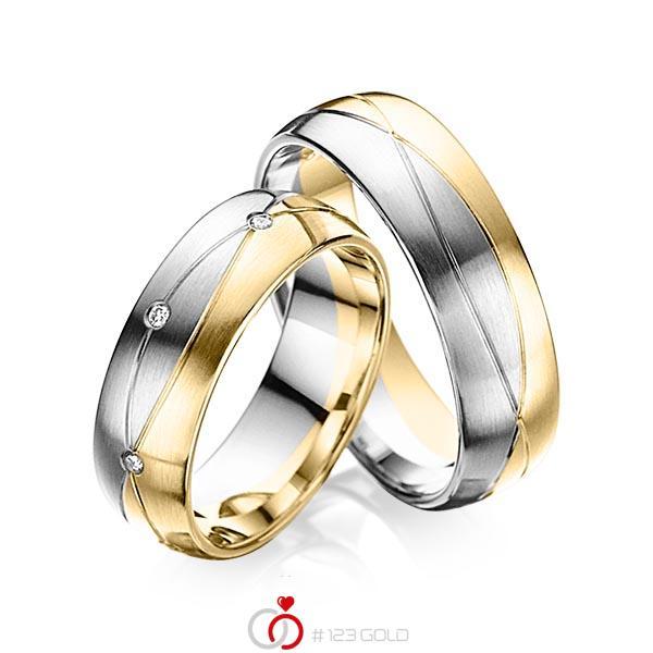 Paar bicolor Trauringe/Eheringe in Graugold 585 Gelbgold 585 mit zus. 0,08 ct. Brillant tw, si von acredo - A-6024-2