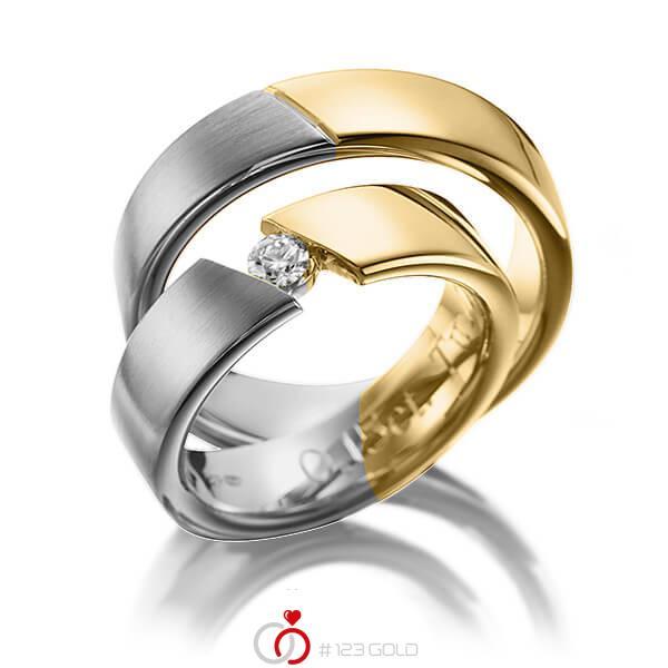 Paar bicolor Trauringe/Eheringe in Graugold 585 Gelbgold 585 mit zus. 0,15 ct. Brillant tw, si von 123gold - P-1118-1