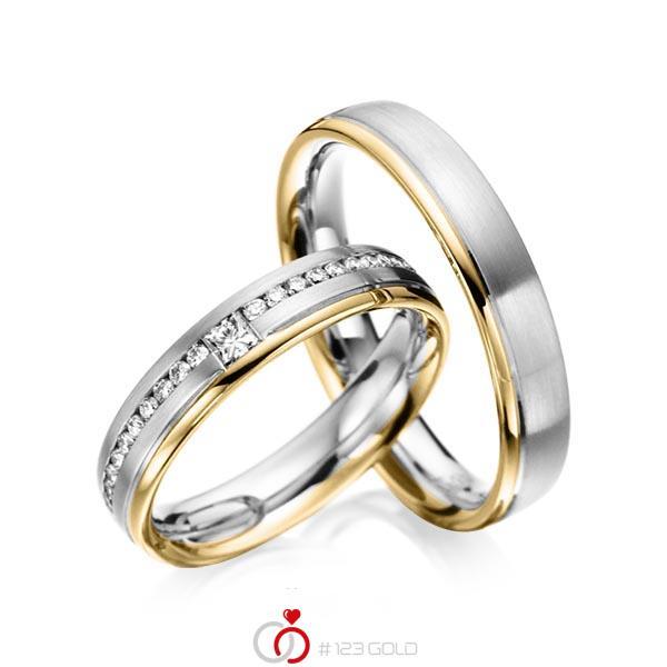 Paar bicolor Trauringe/Eheringe in Graugold 585 Gelbgold 585 mit zus. 0,32 ct. Brillant & Prinzess-Diamant tw, si von acredo - A-6023-4