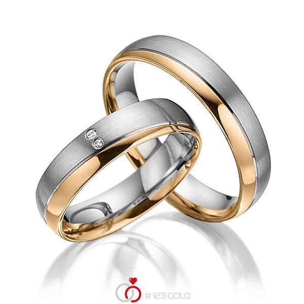 Paar bicolor Trauringe/Eheringe in Graugold 585 Roségold 585 mit zus. 0,015 ct. Brillant tw, si von acredo - A-3018-8