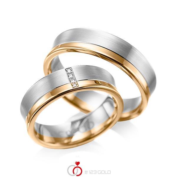 Paar bicolor Trauringe/Eheringe in Graugold 585 Roségold 585 mit zus. 0,02 ct. Brillant tw, si von acredo - A-1053-5