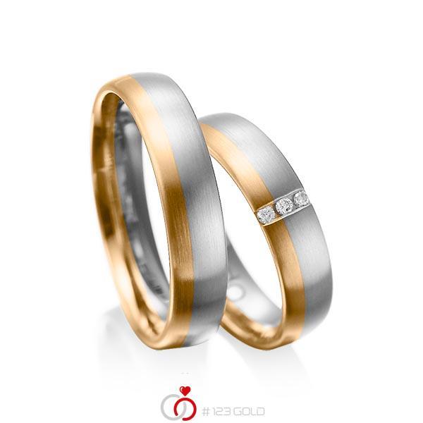Paar bicolor Trauringe/Eheringe in Graugold 585 Roségold 585 mit zus. 0,045 ct. Brillant tw, si von acredo - A-1010-2