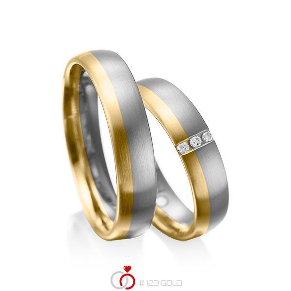 Paar bicolor Trauringe/Eheringe in Graugold dunkel 585 Gelbgold 585 mit zus. 0,045 ct. Brillant tw, si von acredo - A-1010-12