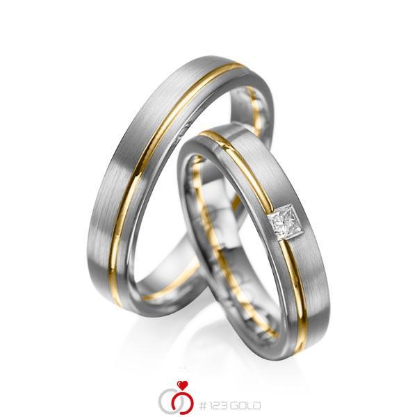 Paar bicolor Trauringe/Eheringe in Graugold dunkel 585 Gelbgold 585 mit zus. 0,08 ct. Prinzess-Diamant tw, si von acredo - A-1018-14