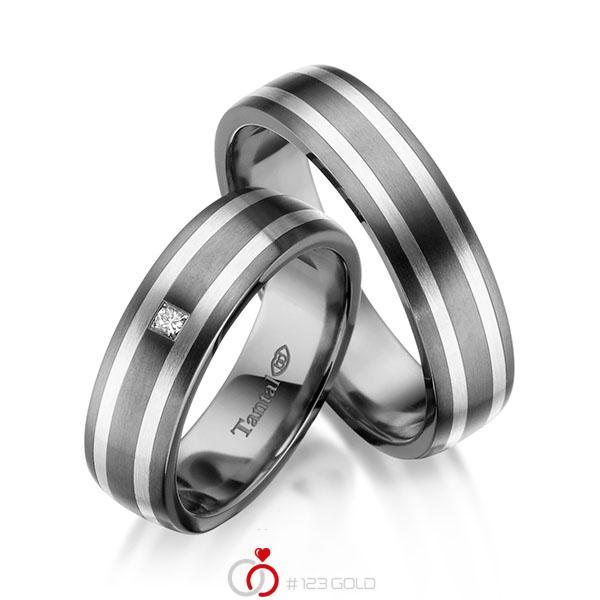 Paar bicolor Trauringe/Eheringe in Innen Tantal 900 , außen Tantal 900 Silber 925 mit zus. 0,04 ct. Brillant tw, si - UQ-1059-1