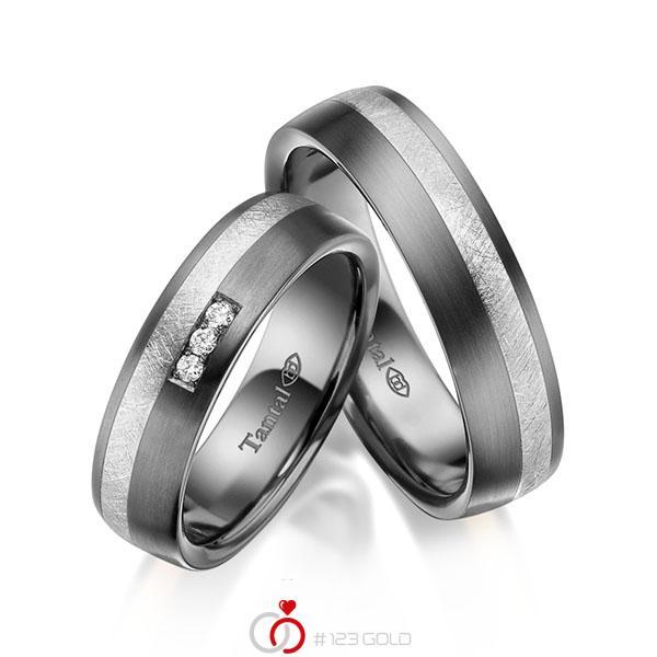 Paar bicolor Trauringe/Eheringe in Innen Tantal 900 , außen Tantal 900 Silber 925 mit zus. 0,06 ct. Brillant tw, si - UQ-1061-4