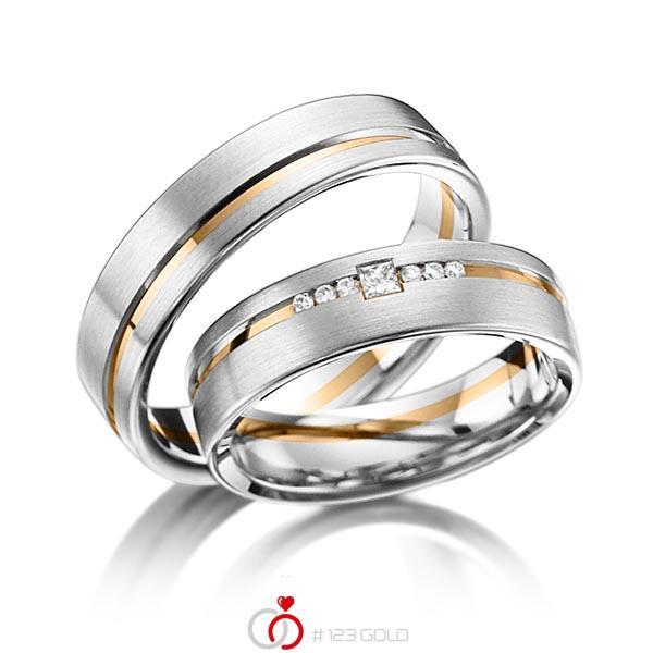 Paar bicolor Trauringe/Eheringe in Platin 950 Roségold 750 mit zus. 0,098 ct. Brillant & Prinzess-Diamant tw, si von acredo - A-6013-3