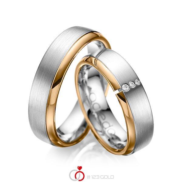 Paar bicolor Trauringe/Eheringe in Roségold 585 Graugold 585 mit zus. 0,03 ct. Brillant tw, si von acredo - A-1067-2