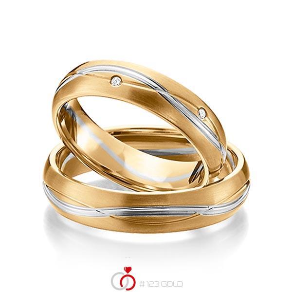 Paar bicolor Trauringe/Eheringe in Roségold 585 Graugold 585 mit zus. 0,06 ct. Brillant tw, si von acredo - A-1158-14