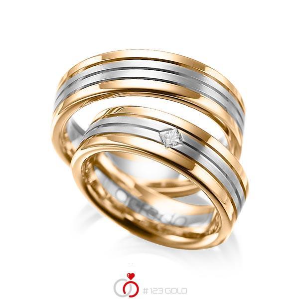 Paar bicolor Trauringe/Eheringe in Roségold 585 Graugold 585 mit zus. 0,08 ct. Prinzess-Diamant tw, si von acredo - A-1023-2