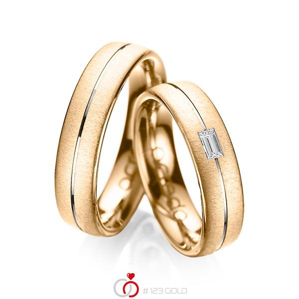 Paar bicolor Trauringe/Eheringe in Roségold 585 Weißgold 585 mit zus. 0,12 ct. Baguette-Diamant tw, vs von acredo - A-1019-7
